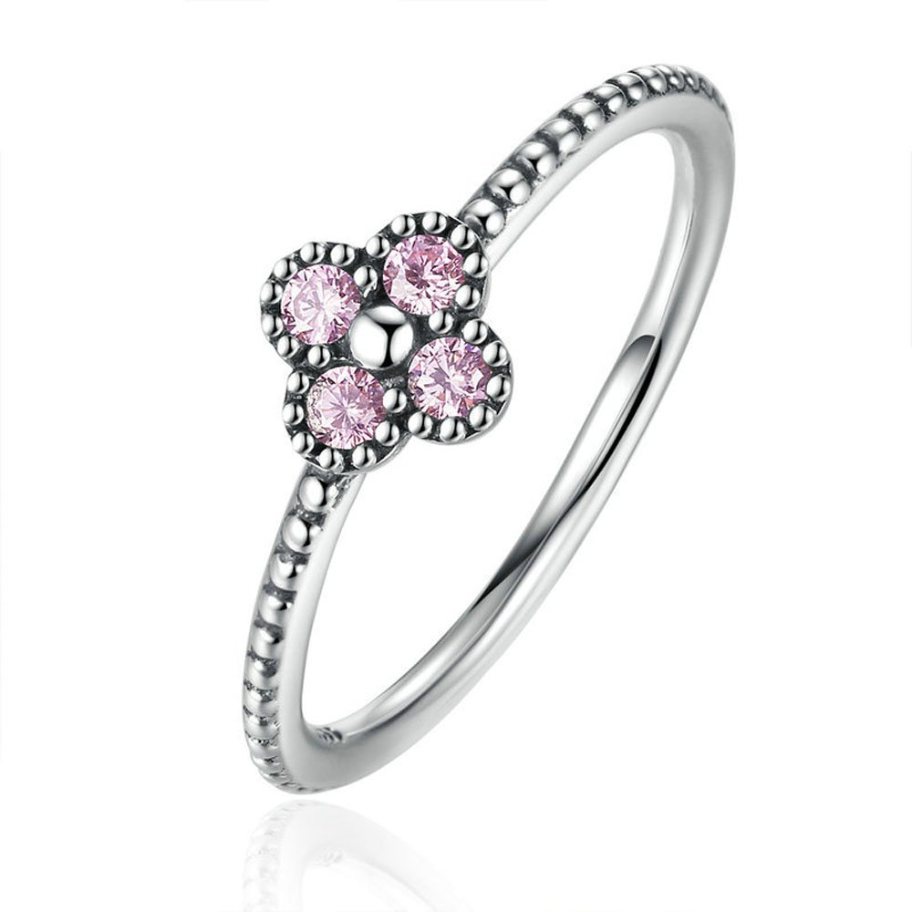 F/&F Ring Sterling Silver Pink Romantic Clover Ring Fine Jewelry for Women Wedding Rings
