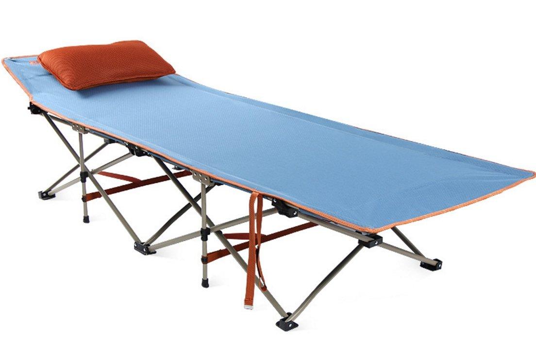 SUNBELT 折りたたみベッド 簡易ベッド 枕 敷布団付き 高耐荷重 設置簡単 コンパクト収納 アウトドア 自宅 オフィス 休憩用 通気 快適 コット B07BF4N54P ブルー(折りたたみベッド) ブルー(折りたたみベッド)