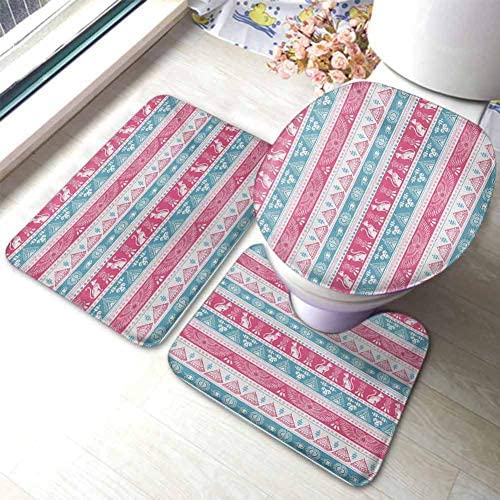 Tribal 3 Piece Microfiber Bathroom Rug Set Ancient Icons Cats Wings Pyramids Triangles Historical Pattern U-Shaped Toilet Mat Toilet Lid Cover Pale Blue Pink White / Tribal 3 Piece Microfiber Bathroom Rug Set Ancient Icons Cats Win...