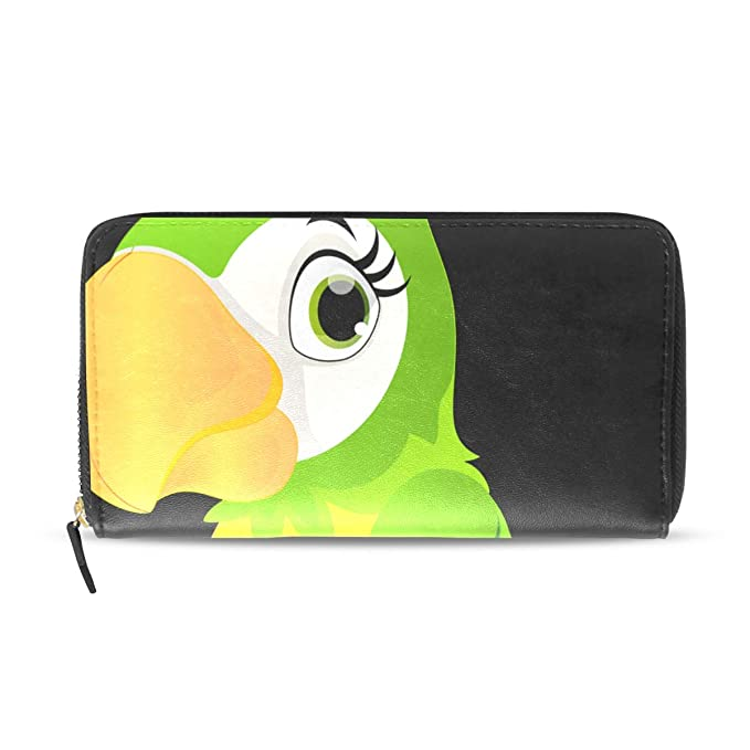f42a49c75fe8 Parrot Cartoon Genuine Leather Wallet Case Credit Card Holder Travel ...