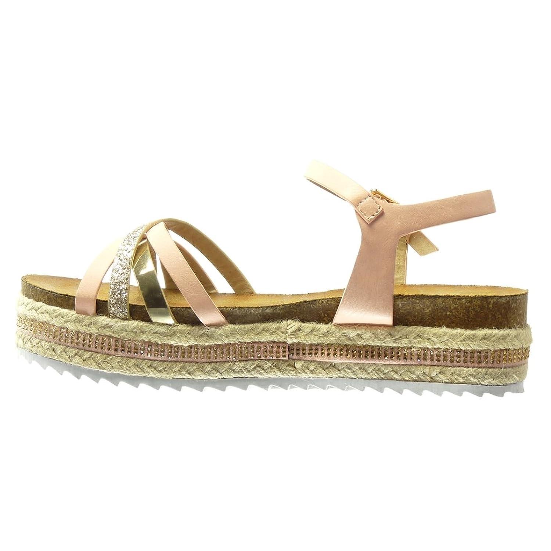 Angkorly - Zapatillas de Moda Sandalias alpargatas zapatillas de plataforma mujer brillante multi-correa tanga Talón Plataforma 5 CM - Rosa XH999 T 41 Barato Venta Sast Descuento bajo precio Lpc7b