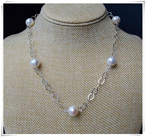 no see long time Freshwater Pearl Necklace, Pearl Necklace, Large Hammered Oval Link Chain, Classic Pearl Necklace