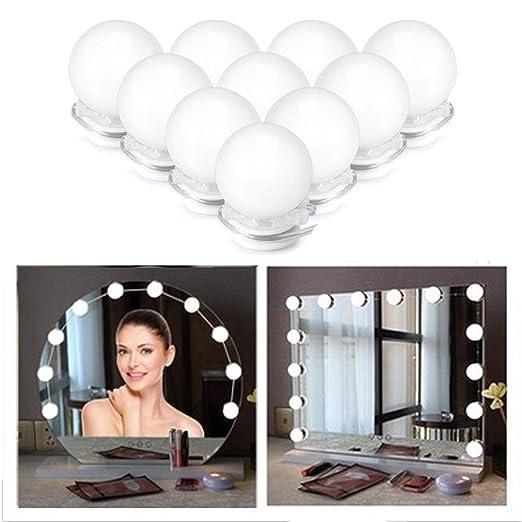 Luces para Espejo,Lámpara de Led Espejo con 10 Bombillas LED Regulable, Maquillaje Lámpara