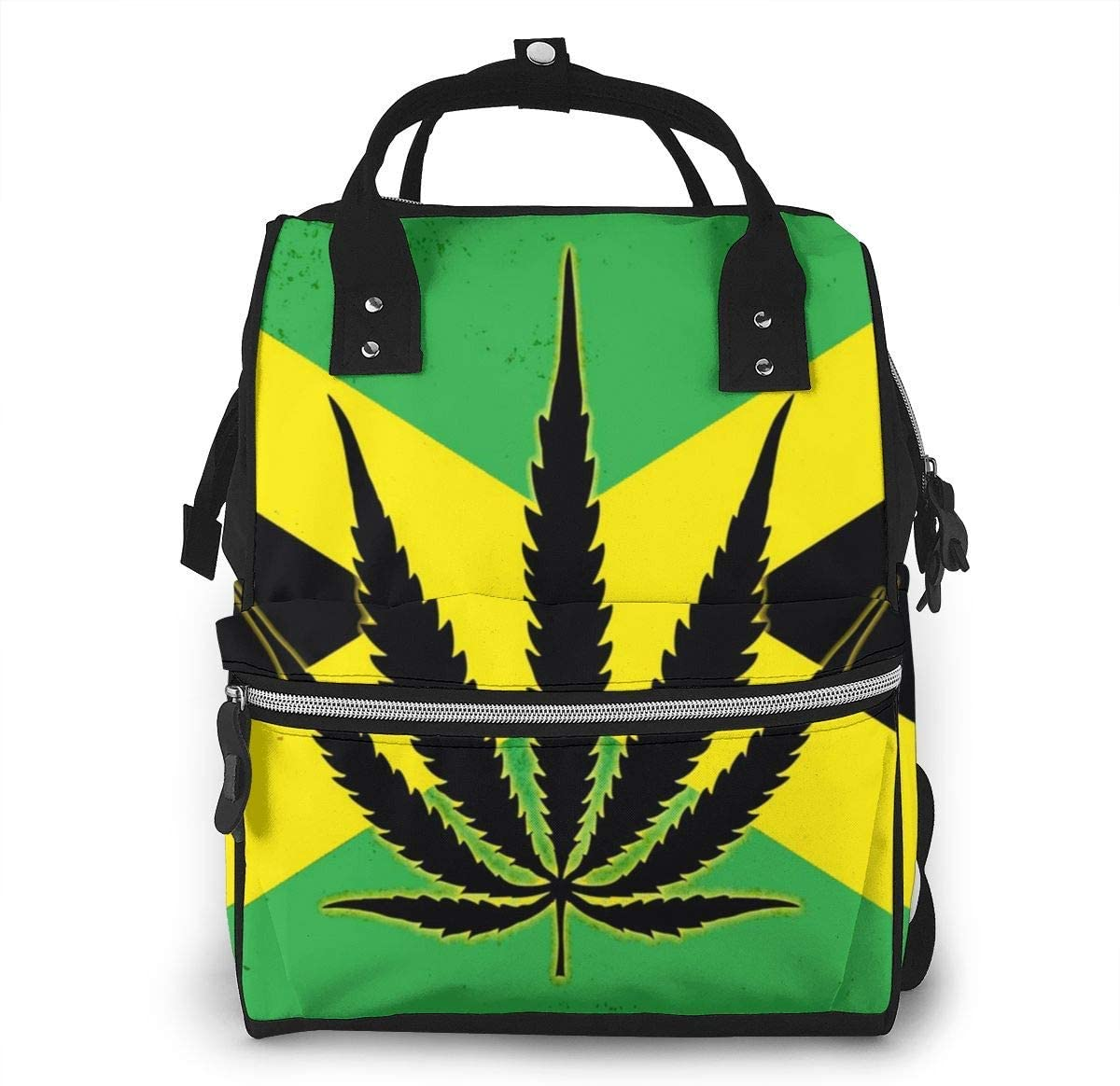 nbvncvbnbv Bandera de Jamaica con bolsas de pañales con hojas de marihuana Bolsas de pañales para momias de viaje Mochila de moda Mochila de viaje multifunción