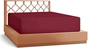 Apsley Linen Solid Color Egyptian Cotton Fitted Sheet { 1-Piece } Fits Mattress 26-28'' Deep Pocket Luxurious Heavy Quality Sateen Weave Soft Breathable (Queen Size, Burgundy)
