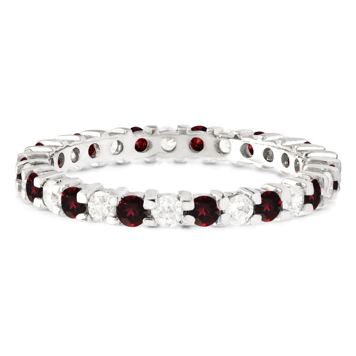 Stackable 1.7 mm Diamonds (G-H I2-I3) and Genuine Ruby Set In Silver Double Shared Prong Eternity Ring