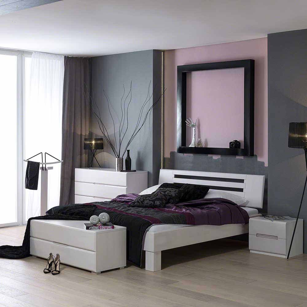 holzbett in wei buche massivholz breite 180 cm tiefe 200 cm liegefl che 180x200 pharao24. Black Bedroom Furniture Sets. Home Design Ideas