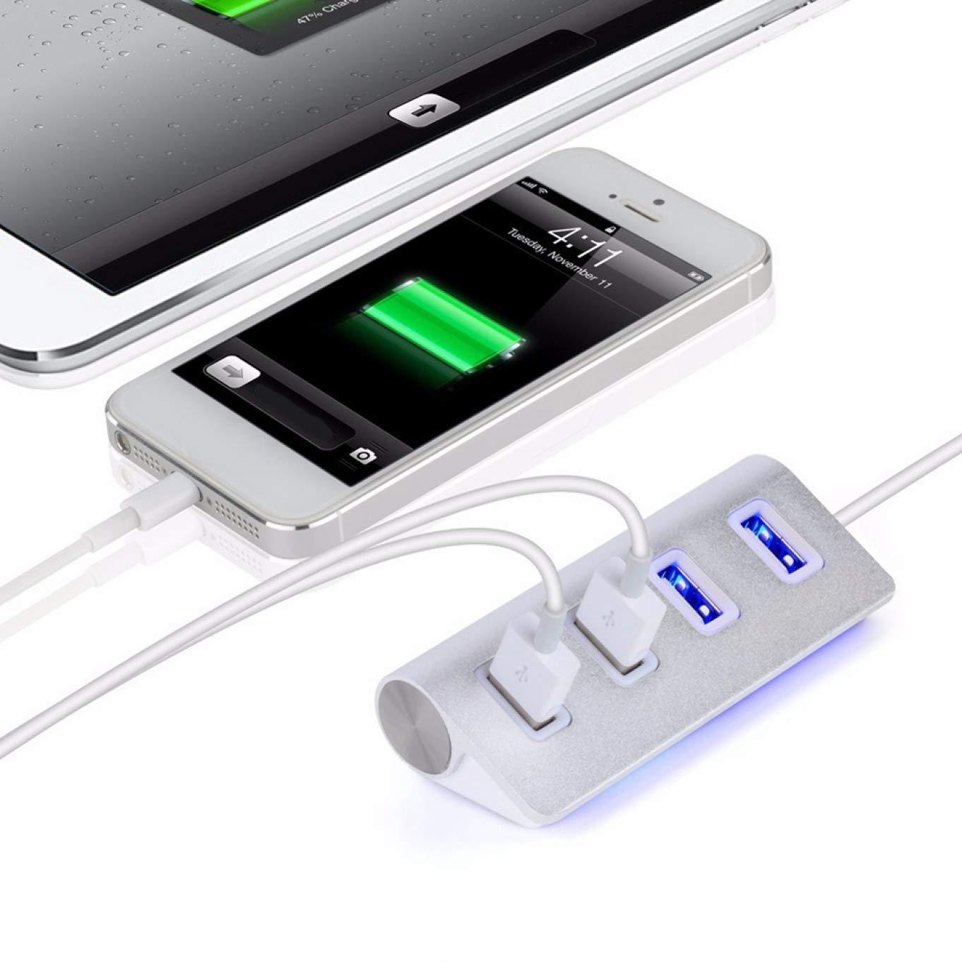 Lanso Nice Adaptador Divisor de 4 Puertos USB 2.0 de Aluminio de Alta Velocidad para PC Lot TF