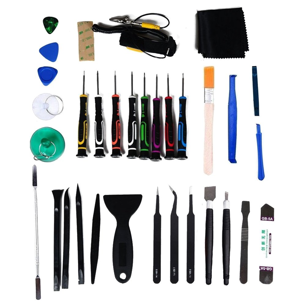 SODIAL(R) 34 pcs Universal Screen Removal Professional Opening Repair Tool Kit Pry Tools Kit and Screwdriver Set for iPhone, Samsung iPad, Tablets and Laptop ect