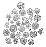 L'vow Silver Color Sparking Wedding Bridal Crystal Pearl Brooches Bouquet Kit Pack of 30 (silver)