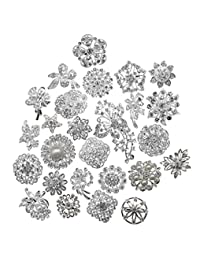 L'vow Silver Color Sparking Wedding Bridal Crystal Pearl Brooches Bouquet Kit Pack of 30