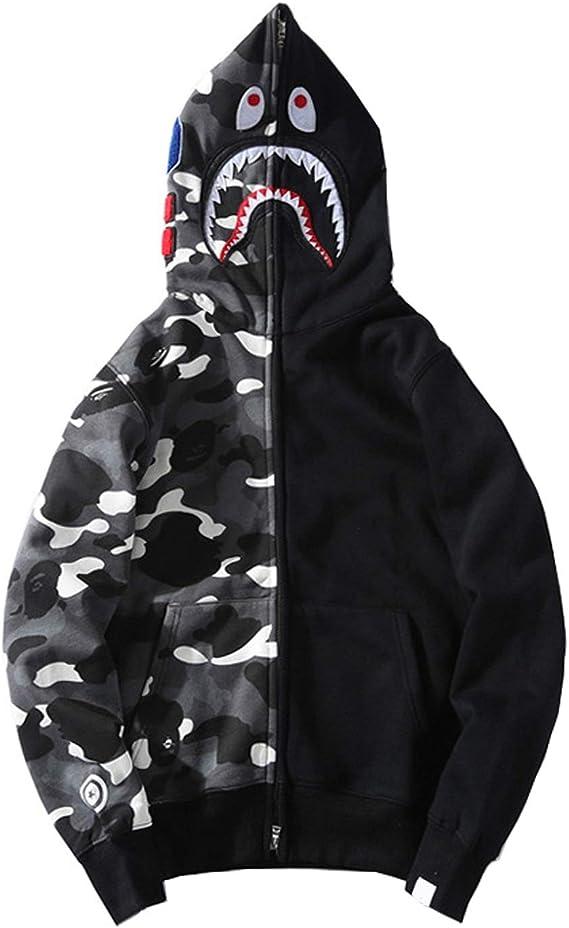 Manbozix Sweat à Capuche à Fermeture éclair pour Homme Hoodies Sweatshirt Veste à Capuche avec Requin, Camouflage M