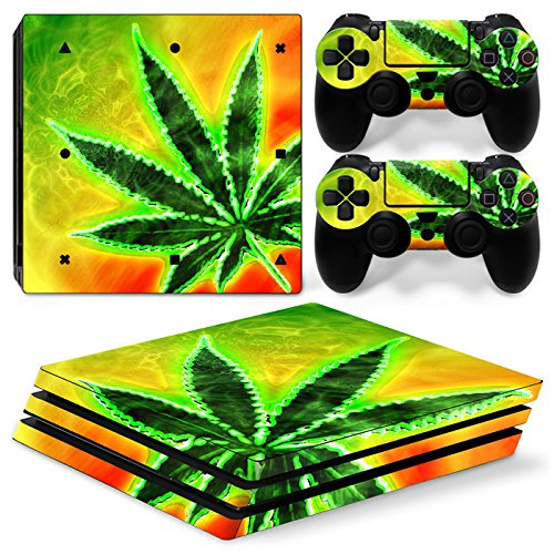OKFOCUS sticker console decal Maple Leaf design for playstation 4 pro controller vinyl skin Pink for PS4 pro slim 4#