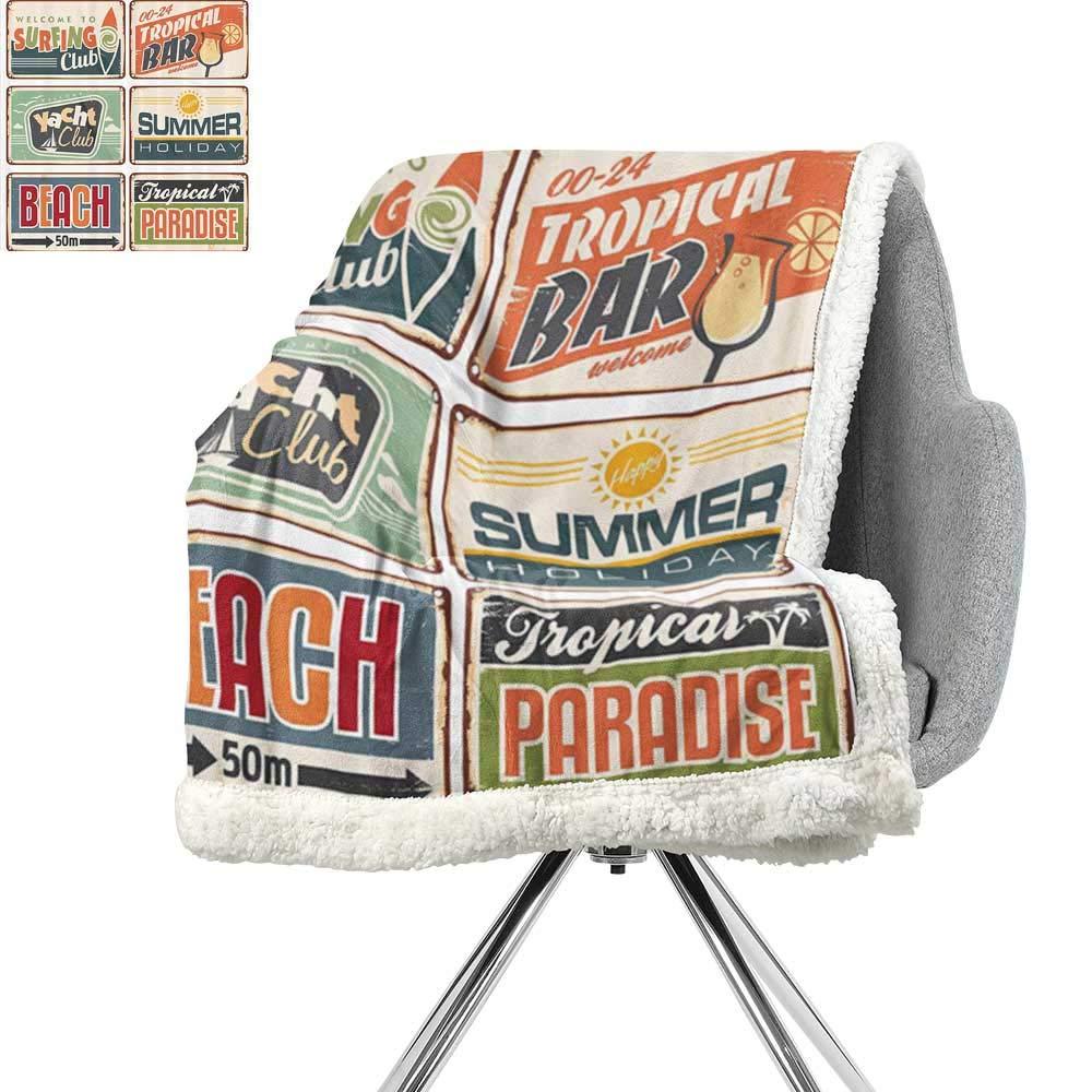 1950年代 装飾 バーバー フリース ブランケット ノスタルジック 広告 プリント アンティーク スポーツ オート レトロ ラスティカラー アートデザイン ティール レッド ブラウン W59