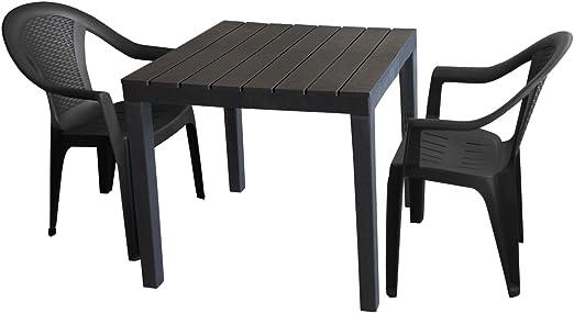 Juego de muebles de jardín mesa de jardín, plástico gris, 78 x 78 ...