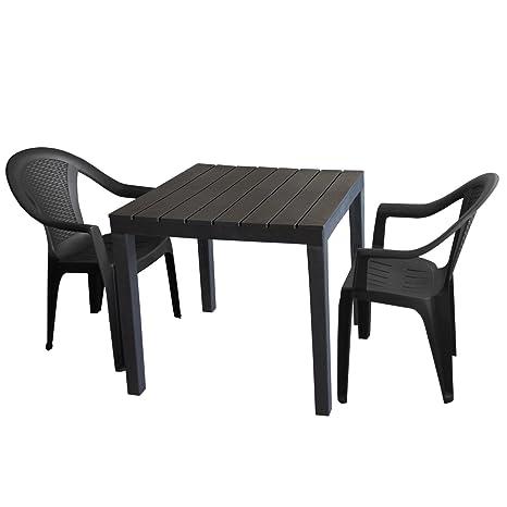 Mobilier De Jardin Table De Jardin Plastique Anthracite 78