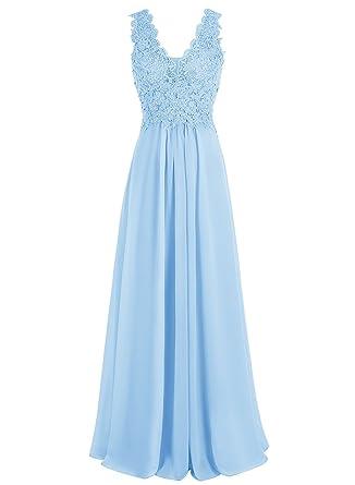 Beyonddress Damen V-Ausschnitt Lange Chiffon Abendkleider Festkleider  Brautjungfernkleider Mit Applikation(Blau,32