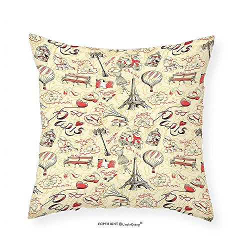 VROSELV Custom Cotton Linen Pillowcase Paris Decor Collection French Culture Themed Doodle With Airship Croissants Coffee Hat Sunglasses Lipstick Bedroom Living Room Dorm - Nick Sunglasses Jonas
