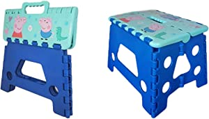 """GSTS Folding Step Stool – 9"""" Lightweight Foldable Plastic Stepping Stool Little Pink Pig. Foldable Step Stool for Kids for Kitchen and Bathroom. Holds up to 300lbs Non-Slip Collapsible Stool (Blue)"""
