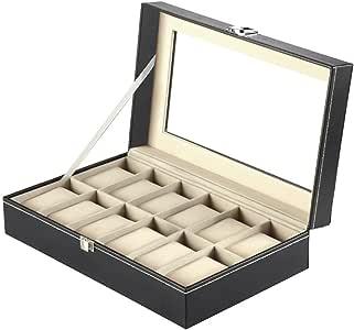 Mbuynow, Estuche Para Relojes, Caja Para Reloj 12 Compartimentos, Color Negro: Amazon.es: Hogar