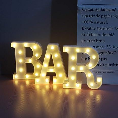 Kaliya LED BAR Marquee Sign Marquee Word Sign - Luz de letrero de bar de pub preiluminada Funciona con batería