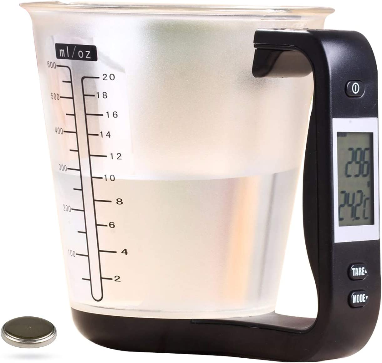 Kitchen Scale Digital Measuring Cup 1kg/600ml Food Scale Weight Scale Scales Weighing Water Milk Flour Sugar Oil Coffee Liquid Baking Cooking Plastic Measuring Cups Grams and Ounces (Black)