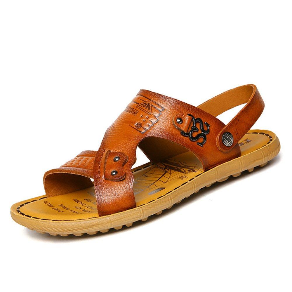 Sandalias De Cuero Real del Verano De Los Hombres Zapatillas Ocasionales Ocasionales De La Comodidad De La Playa De Los Hombres Que Recorren 41 EU|Brown