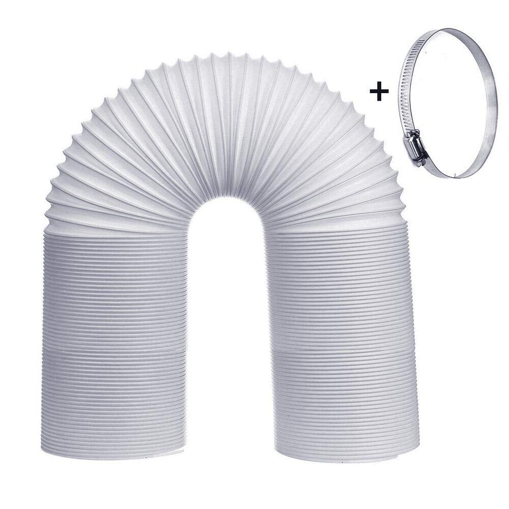 HOMGIF Exhaust Hose for Portable Air Conditioner - 5 inch Diameter AC Vent Hose Counterclockwise Extend Length 79 Inch Plus Stainless Steel Buckle