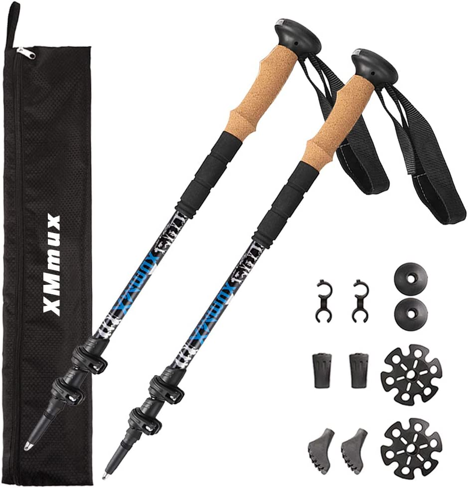 XMmux Aluminum Carbon Fiber Trekking Poles 1 Pair with LED Lights – Cork Grip, Quick Locks,Shock-Absorbent Walking Sticks Hiking Skiing Pole with Carry Bag for All Height Men, Women, Kids