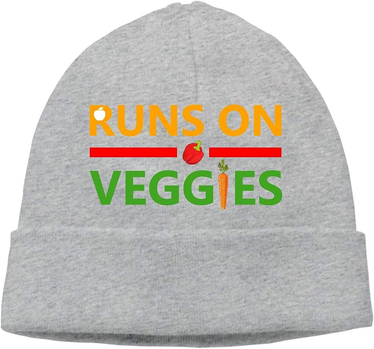 Beanie Hat Runs On Veggies Warm Skull Caps for Men and Women