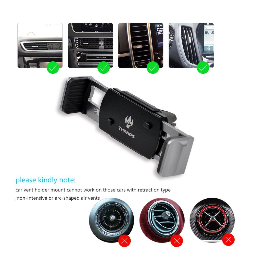 Rouge Support T/él/éphone Voiture Fonction de m/émoire Conception non-magn/étique 360/°rotation arbitraire Mat/ériau dalliage daluminium Support de t/él/éphone universel Durable