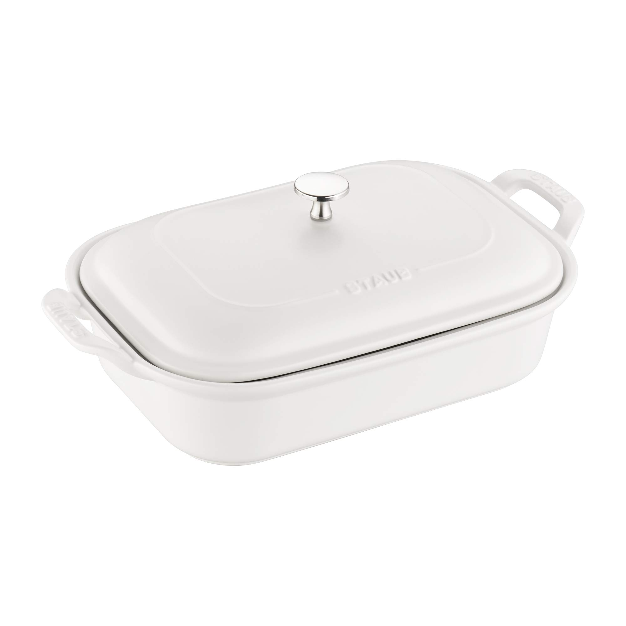 Staub Ceramic 12'' x 8'' Rectangular Covered Baking Dish - Matte White