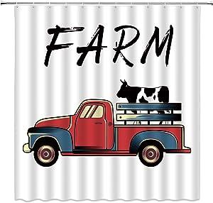 Farm Shower Curtain, Retro Red Truck Farm Animal Cow Vintage Rustic Countryside Art Fabric Bathroom Decor Sets with 12 Hooks,71X71 Inchs,Red Black
