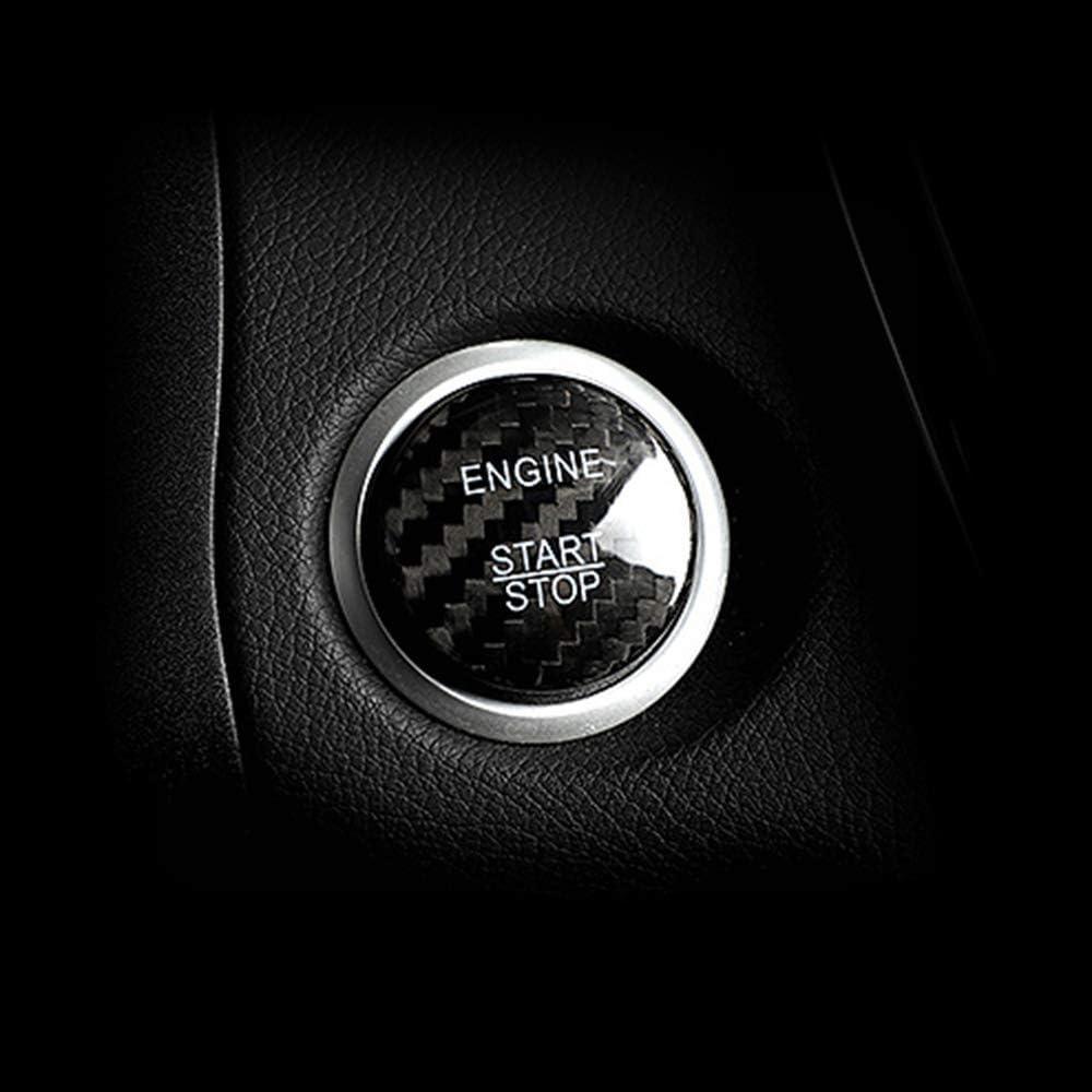 Lolosale Carbon Fiber Car Engine Ignition Start Stop Button Insert Panel Trim Decor Emblem Cover For Mercedes Benz Black