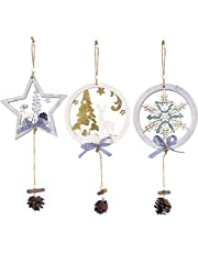 Zoylink 3PCS Christmas Prandent Hanging Ornament Wooden Xmas Tree Decoration