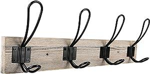 Sageme Wall Mounted Coat Rack, Wooden Entryway Vintage Rustic Coat Rack Hat Hanger Rack 4-Hook Rail for The Entryway, Bathroom, Bedroom, Kitchen, Mudroom Solid Wood (4 Hooks, Black)