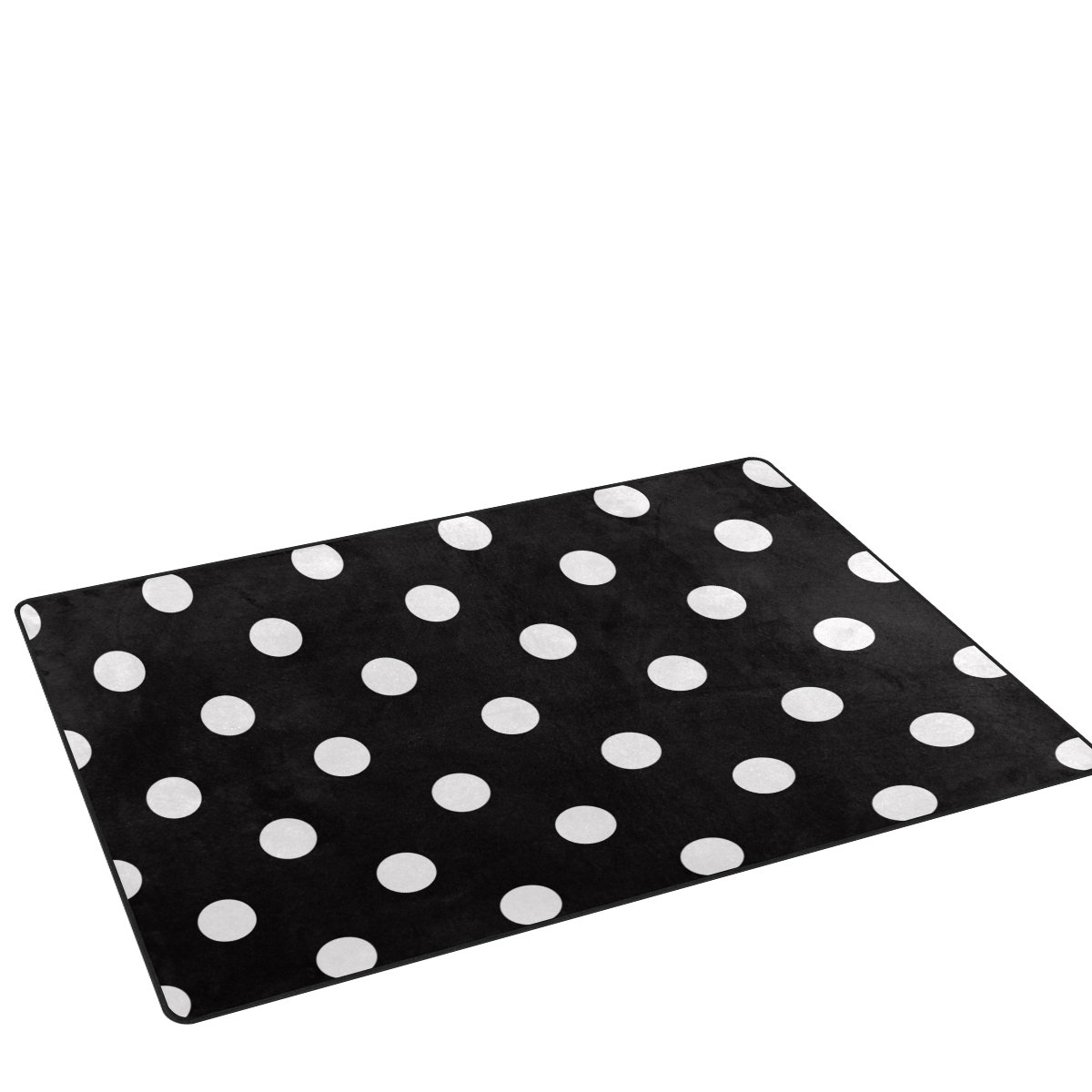 DEYYA Home Contemporary White Black Polka Dot Area Rugs 3 x5 , Modern Non-Slip Doormats Carpet for Living Dining Room Bedroom Hallway Office Easy Clean Footcloth