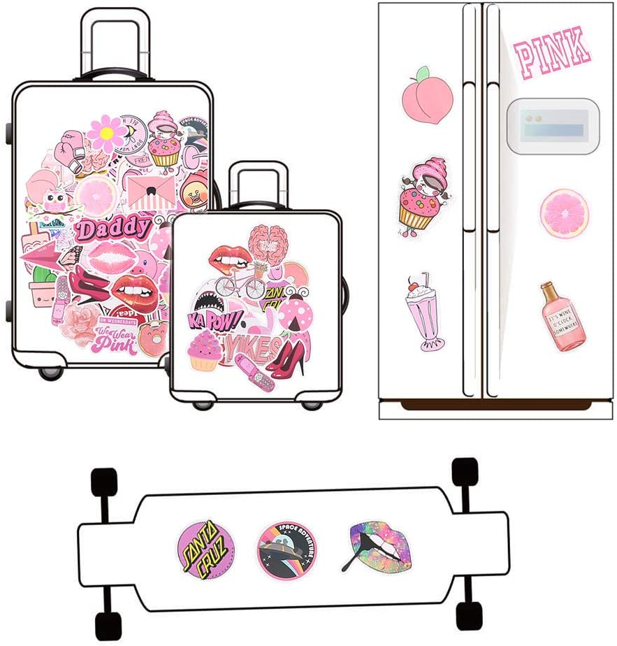 Travel Suitcase Decoration Bicycle Phone Pink Cute Vinyl Stickers Car Water Bottle Stickers Waterproof for Laptop Motorcycle Rubywoo/&chili 100Pcs Vsco Stickers Cute Skateboard