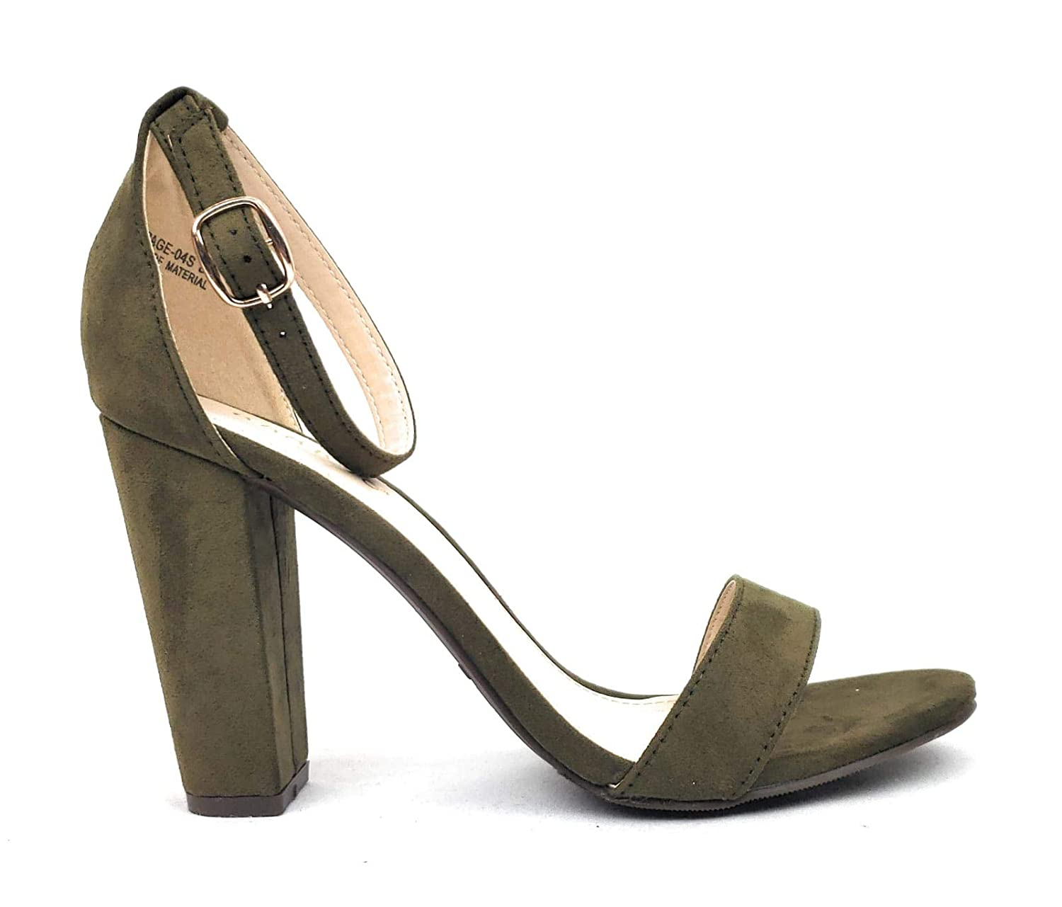 962cab4834 Amazon.com | BAMBOO Women's Single Band Chunky Heel Sandal with Ankle Strap  | Shoes