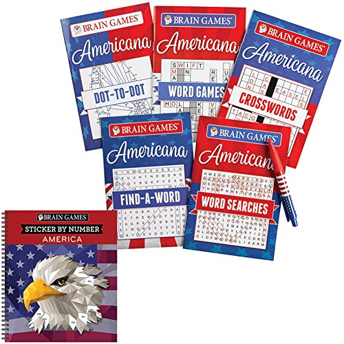 - Americana Sticker By Number & Word Games w/Pen Patriotic Brain Workout