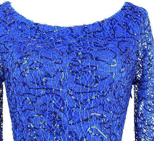 Angel Azul Vestido Mangas Lentejuela de graduacion 3 Fiesta Plisado 4 fashions Mujer de Drapeado rt8wqrO