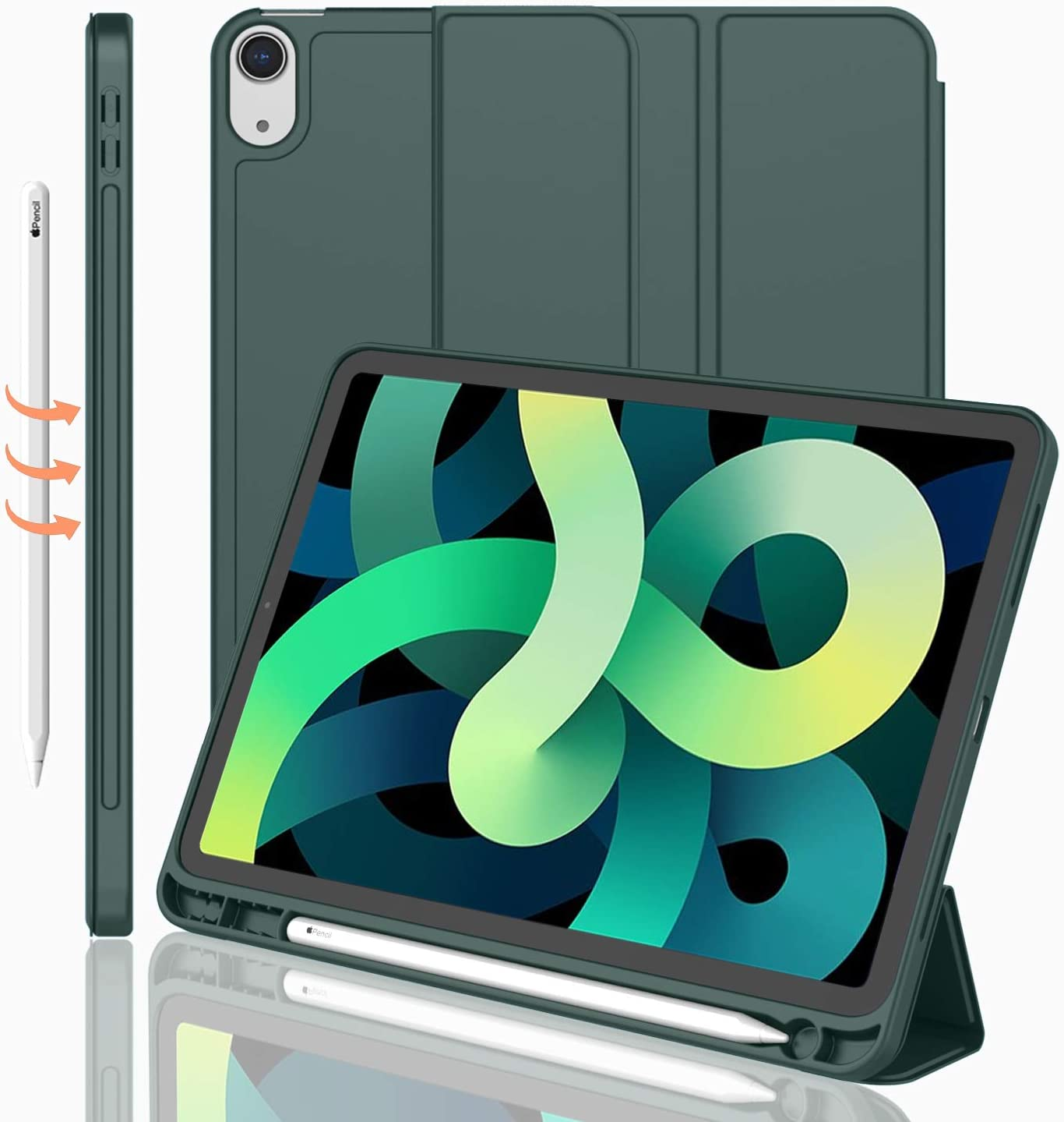iMieet iPad Air 4th Generation Case 2020, iPad 10.9 Case with Pencil Holder [Support Touch ID, NOT Support Auto Wake/Sleep], Trifold Stand Smart Case with Soft TPU Back (Midnight Green)