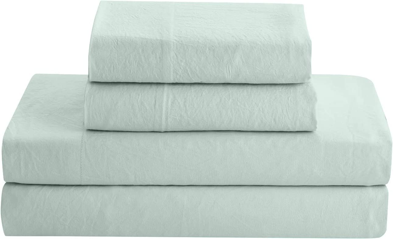 Prewashed Linen Style Crinkle Sheet Set - Extra Soft and Airy Feel For Lightweight and Breathable Bed Sheets for All Season Comfort - Deep pocket, Reinforced Elastic Corner Straps - Cal King, Mint