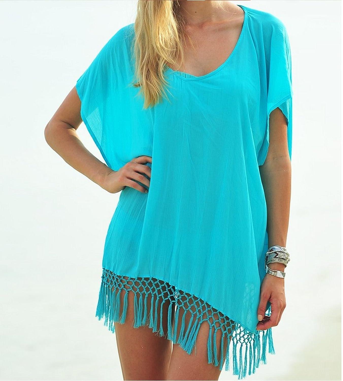 Ipretty Bikini cover up Damen Chiffon Stitching Sommer StrandKleid blau