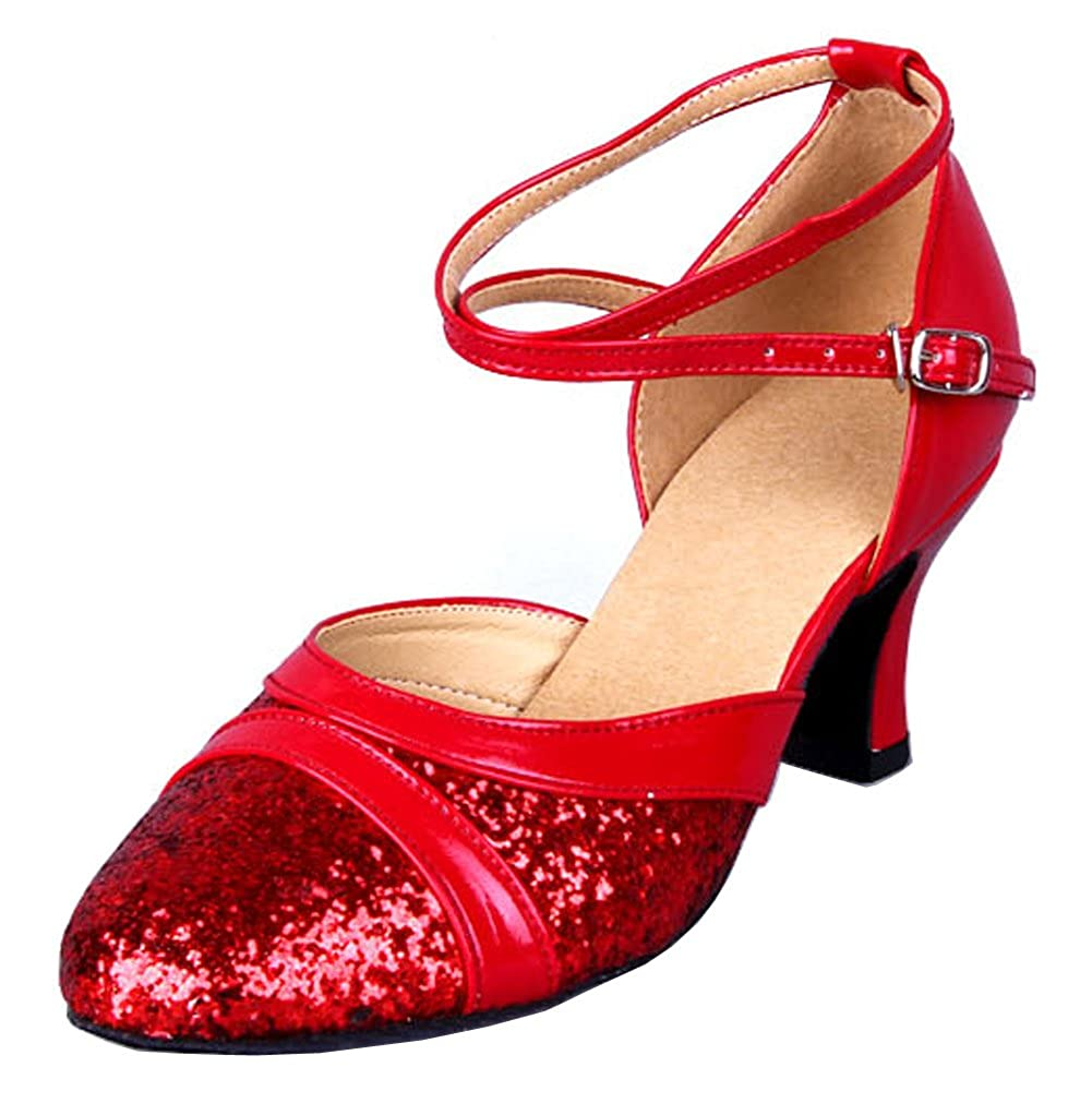 Honeystore Womens Sequins Round Toe Latin Dance Shoes