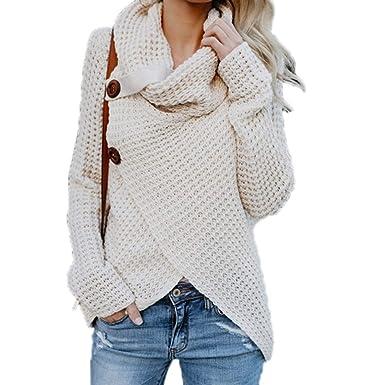 dbc2405696d Molif Winter Women Knit Sweater Buttons Loose Cardigan Coat Warm High  Collar Irregular Sweater Apricot S