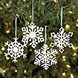 12 piece Resin Iridescent Glitter Snowflake Christmas Tree Ornament Decorations