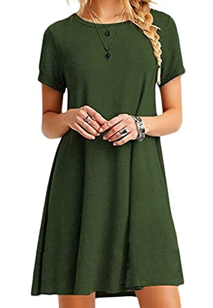 e4b563c9710 OMZIN Women Short Sleeve Loose Casual T-Shirt Tops Dress Plus Size XS-4XL  US 4-18  Amazon.co.uk  Clothing
