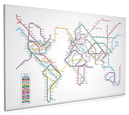World Map In The Style Of A Tube Metro Subway Underground System