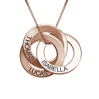 08746d1e5f4bdc Amazon.com: MyNameNecklace Personalized Russian Ring Engraved Name Necklace  - Personalized 3 Circles Disc Jewelry: Jewelry